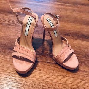 Zara Pink Nude Strappy Sandal Heels 36